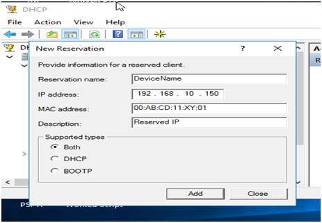 MAC Address and click Add