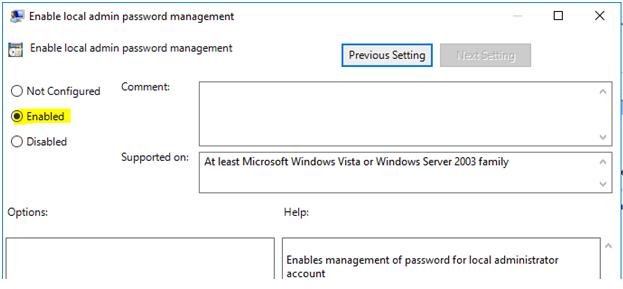 Enable local admin password management