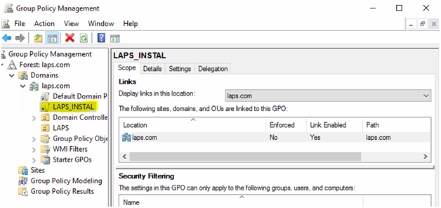 Creation of group policy