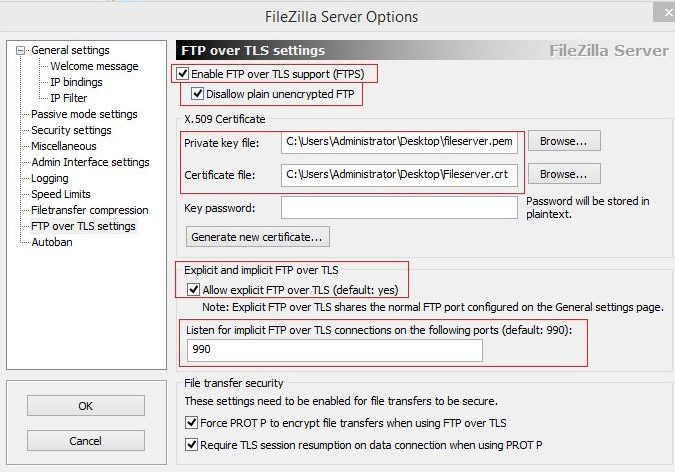Enable FTP over TLS Support