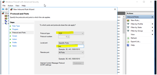 Create a new rule and select custom and select protocol and ports