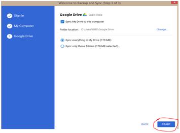 complete the google drive setup