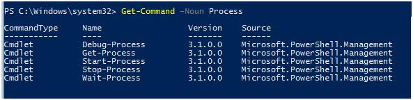 Get-Command –Noun Process