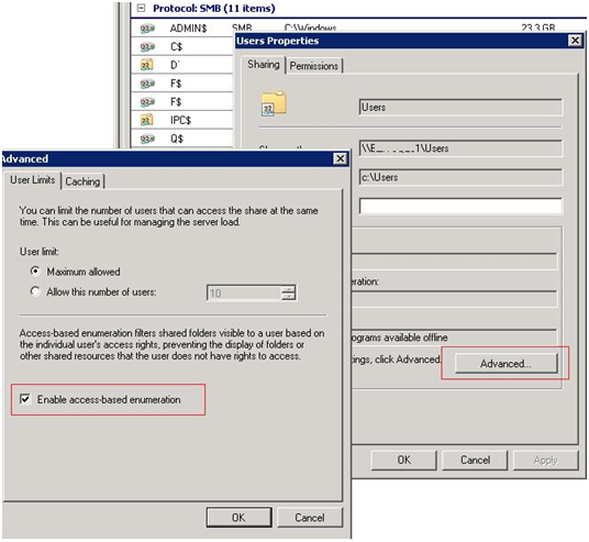 Enable access-based enumeration