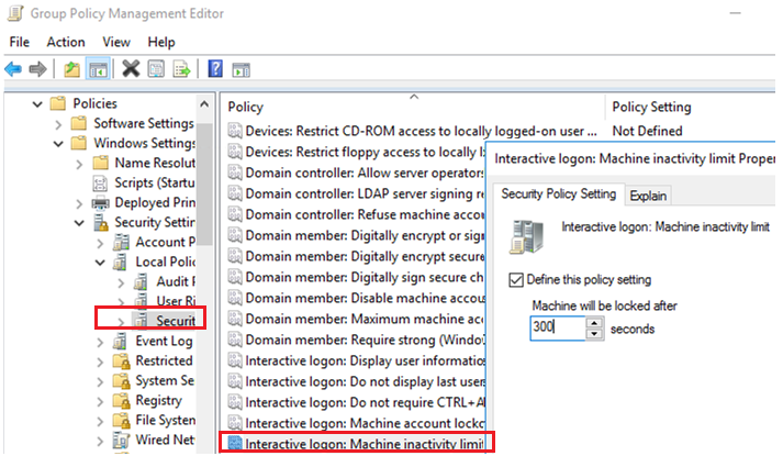 computer security policy in Windows Server 2012/Windows 8