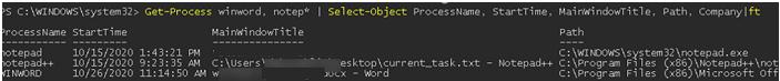 Get-Process cmd,excel,notep*